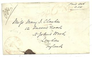 Canada Stampless Cover To Mary Clarke In London - Paid 6d Stg Not Known 1863 photo
