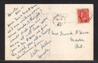 1920 Christmas Postcard - - Hunta,  Ontario Duplex Hand Cancel photo