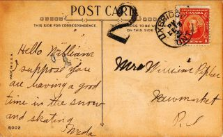 1928 Valentine Postcard - - Uxbridge,  Ontario Hand Cancel photo