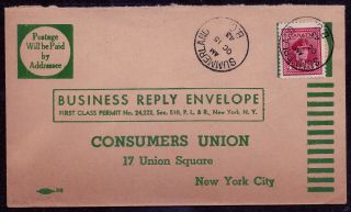 Canada 1943 Ww Ii Business Reply Envelope;summerland,  Bc - Consumers Union;sc 254 photo