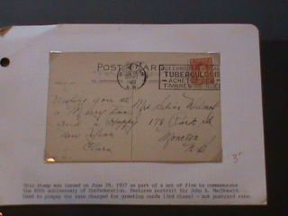 1 Cent Sir John A Macdonald On Greeting Post Card photo