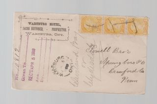 1889 Wartburg Canada Hotel Registered Cover To Usa photo