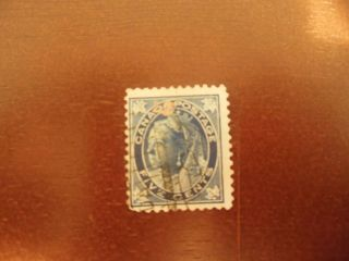 Canada 1897 Queen Victoria Maple Leaf Dark Blue 70 5 Cent Strange Cancel photo