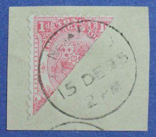 1892 Tonga 1d Scott 10a S.  G.  10b On Piece Cs00921 photo