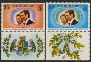 Dominica 372 - 3 + Label Princess Anne,  Mark Phillips Wedding photo