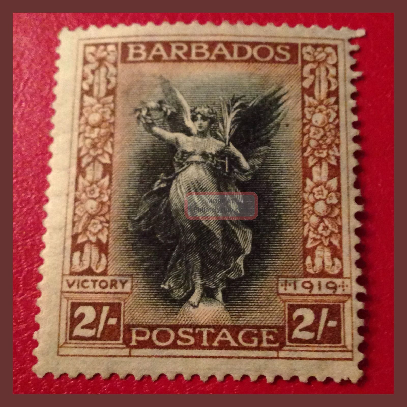 Barbados 1920 - 2/ - Victory From Victoria Memorial Mh/very Fine As Per Scans British Colonies & Territories photo