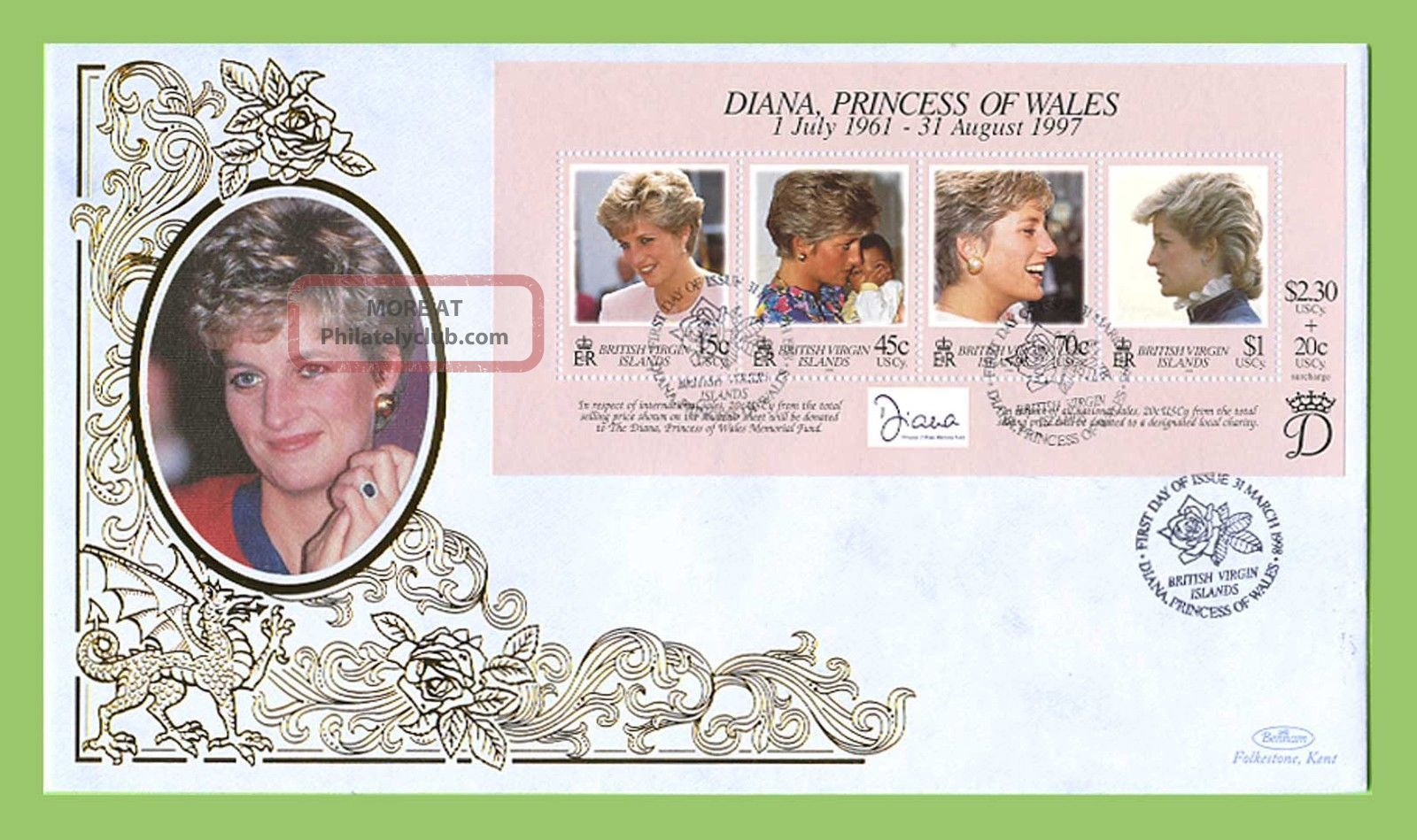 Br.  Virgin Is.  1998 Diana,  Princess Of Wales Commemoration.  Sheet Silk Fdc British Colonies & Territories photo