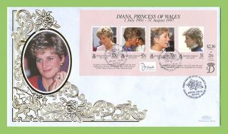 Br.  Virgin Is.  1998 Diana,  Princess Of Wales Commemoration.  Sheet Silk Fdc photo