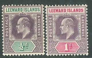 Leeward Islands 1902 Purple/green 1/2d Purple/carmine 1d Sg20/21 photo