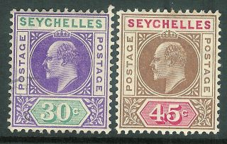 Seychelles 1906 Violet/green 30c Brown/carm 45c Sg66/67 photo