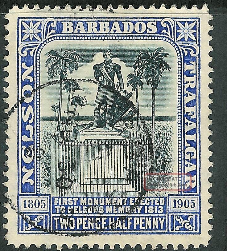 Barbados 1907 Black/blue 2.  5d Multi - Crown Ca Watermark Sg162 British Colonies & Territories photo