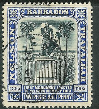 Barbados 1907 Black/blue 2.  5d Multi - Crown Ca Watermark Sg162 photo