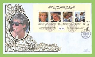 Cayman Is 1998 Diana,  Princess Of Wales Commemoration.  Sheet Silk Fdc photo