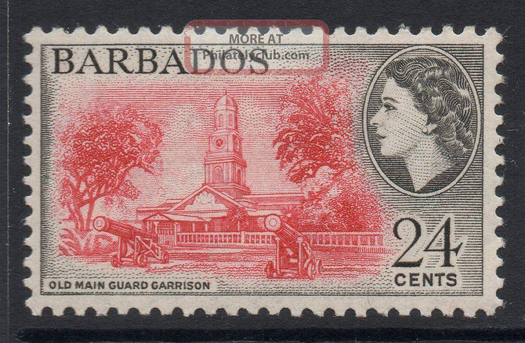 Barbados Sg297 1956 24c Rose - Red & Black Mtd British Colonies & Territories photo