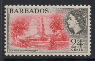 Barbados Sg297 1956 24c Rose - Red & Black Mtd photo