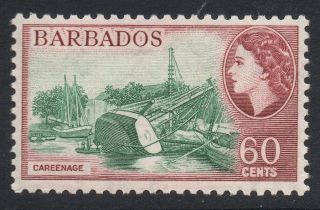 Barbados Sg299 1956 60c Blue - Green & Brown - Purple Mtd photo