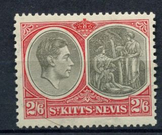 St.  Kitts Nevis 1938 - 50 Kgvi Sg 76,  2s6d Black & Scarlet P13x12 Ord Paper A56303 photo
