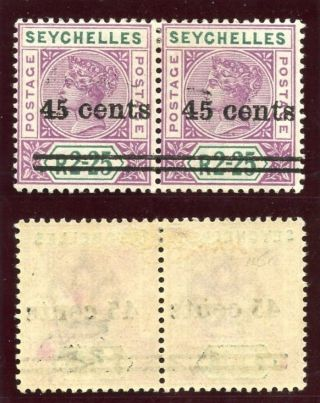 Seychelles 1902 Qv 45c On 2r 25c Pair,  Narrow