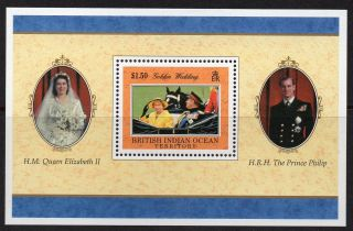 British Indian Ocean Territory 1997 Royal Golden Wedding Minisheet Sg Ms 201 U/m photo
