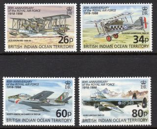 British Indian Ocean Territory Biot 1998 80th Anniversary Raf Sg 215 - 218 U/mint photo