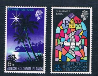 Solomon Is 1969 Christmas Sg 189/90 photo