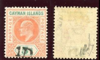 Cayman Island 1907 Kevii 1d On 5s Salmon & Green Mlh.  Sg 19.  Sc 19. photo