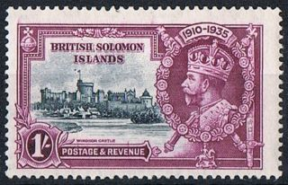 British Solomon Islands Stamp 1935 Jubilee 1s Slate And Purple Dot By Flagstaff photo