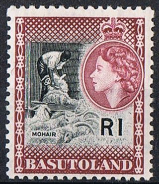 Basutoland Stamp 1963 1r Black And Marron Sg79 photo