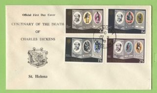 St Helena 1970 Charles Dickens Death Centenary First Day Cover photo
