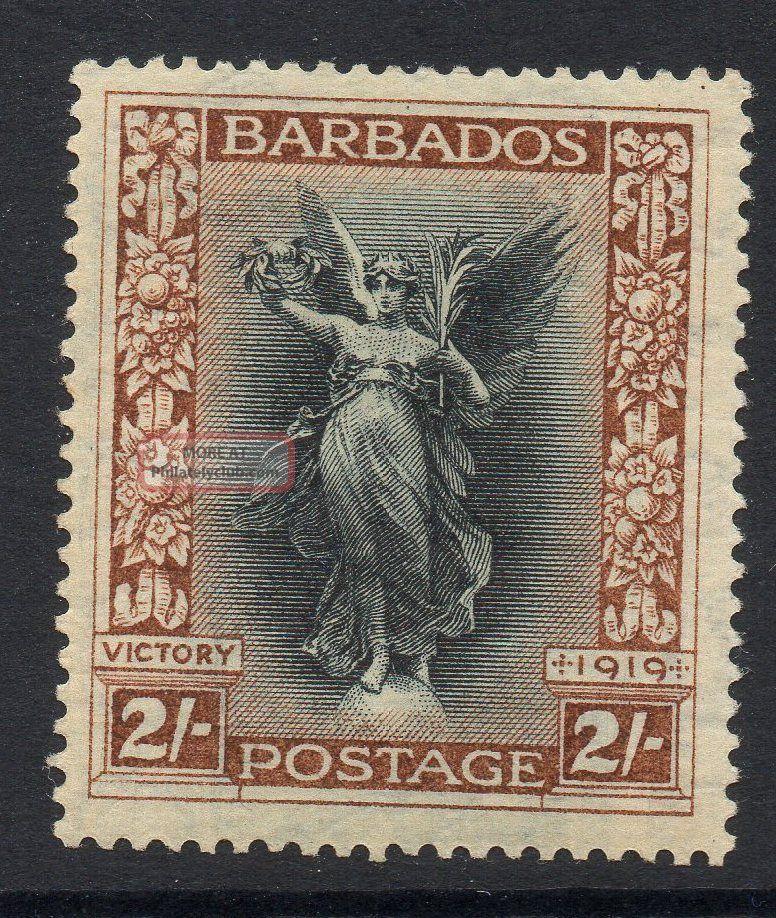 Barbados Sg210w 1920 2/= Black & Brown Wmk Crown To Left Of Ca Mtd British Colonies & Territories photo