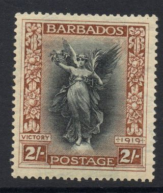 Barbados Sg210w 1920 2/= Black & Brown Wmk Crown To Left Of Ca Mtd photo
