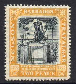 Barbados Sg161 1907 2d Black & Yellow Mtd photo