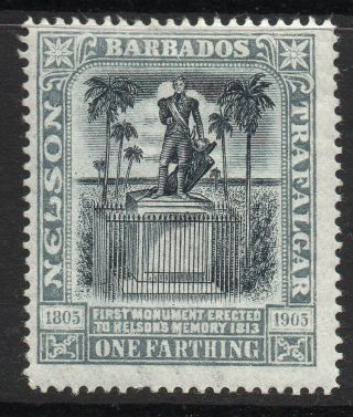 Barbados Sg145 1906 ¼d Black & Grey Mtd photo