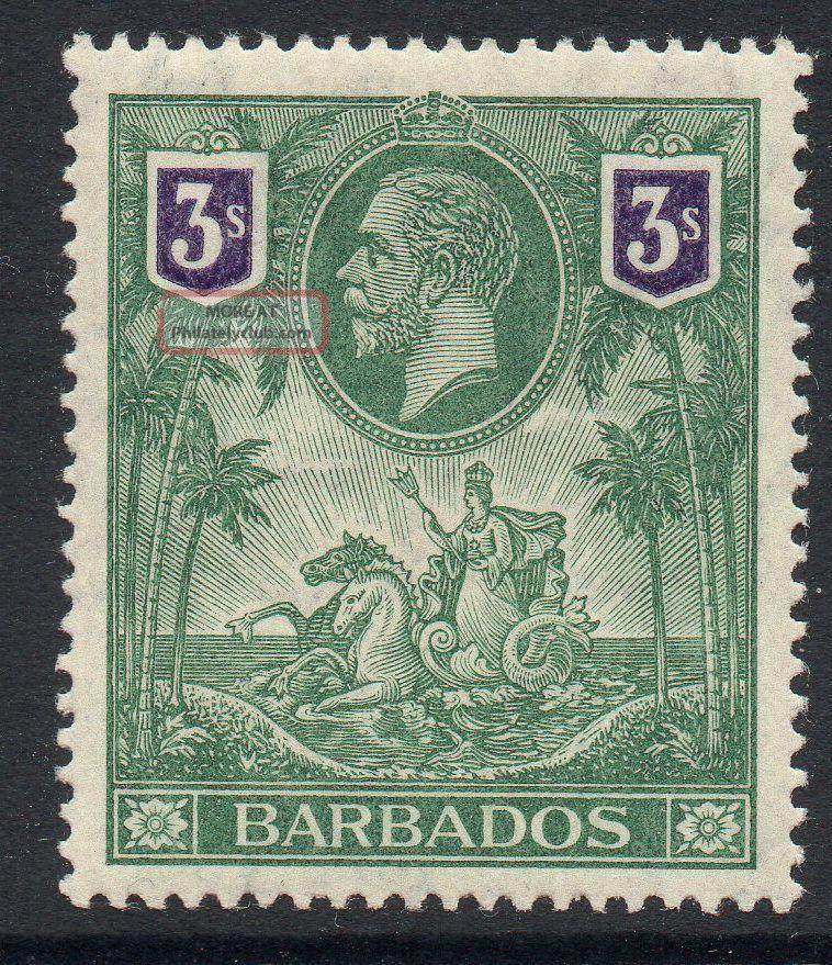 Barbados Sg180 1912 3/= Green & Violet Mtd British Colonies & Territories photo