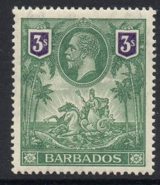 Barbados Sg180 1912 3/= Green & Violet Mtd photo