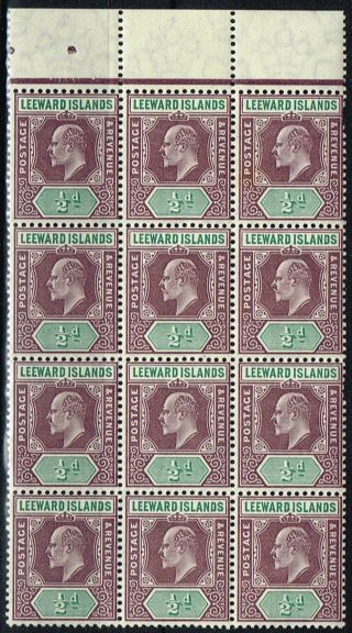 Leeward Islands 1906 1/2d Dull Purple & Green Sg29 Fine Block Of 12 photo