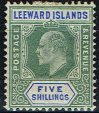Leeward Islands 1902 5s Green & Blue Sg28 Mm photo