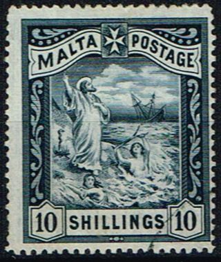 Malta 1899 10s Blue - Black Sg35 Fine photo