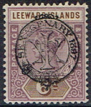 Leeward Islands 1897 6d Dull Mauve & Brown Sg13 Fine Lmm photo