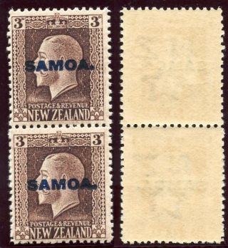 Samoa 1916 Kgv 3d Chocolate Vertical Pair Mixed Perfs.  Sg 140b. photo