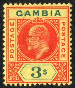 Gambia: 1905 - 3s Carmine & Green.  Dented Frame Variety.  Mm.  Sg56a.  (ref.  684) photo