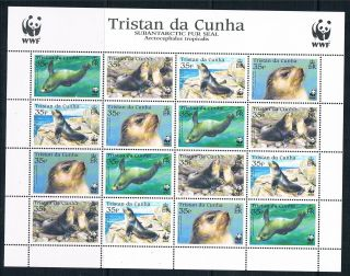 Tristan Da Cunha 2004 Fur Seals 16v Sheet Sg800/3 photo