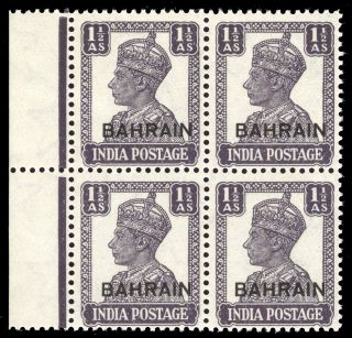 Bahrain 1942 Kgvi 1½d Dull Violet Block Of Four.  Sg 43.  Sc 43. photo