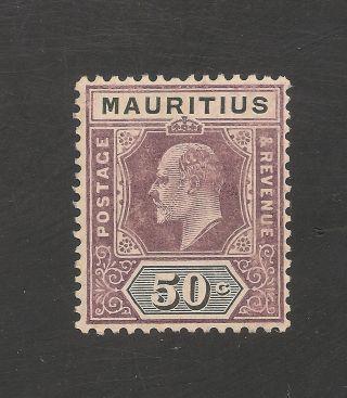 Mauritius 147 (sg 191) Fvf Mlh - 1910 50c Edward Vii photo