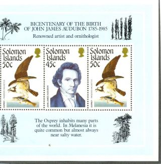 Solomon Islands Osprey/audubon Min Sheet 556 photo