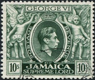 Jamaica 1950 (kgvi) 10s Myrtle - Green Sg133aa Cv £7.  00 Vf Uh Postage photo