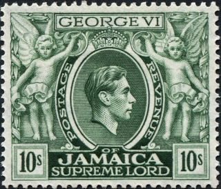 Jamaica 1950 (kgvi) 10s Myrtle - Green Sg133aa Cv £18.  00 Vf Mh Postage photo
