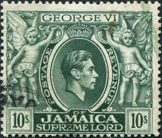 Jamaica 1938 (kgvi) 10s Myrtle - Green Sg133 Cv £10.  00 Uh Postage photo