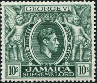 Jamaica 1938 (kgvi) 10s Myrtle - Green Sg133 Cv £11.  00 Vf Mh Postage photo