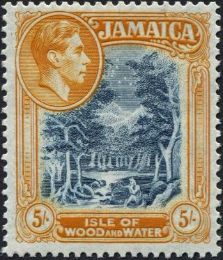 Jamaica 1949 (kgvi) 5s Slate - Blue And Yellow - Orange Sg132b Cv £10.  00 F Mh photo